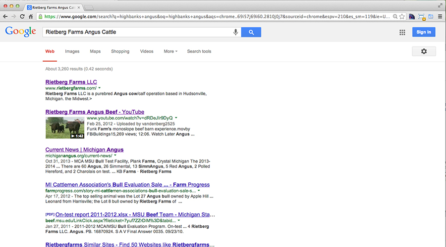 Rietberg Farms Google Search Results Screenshot