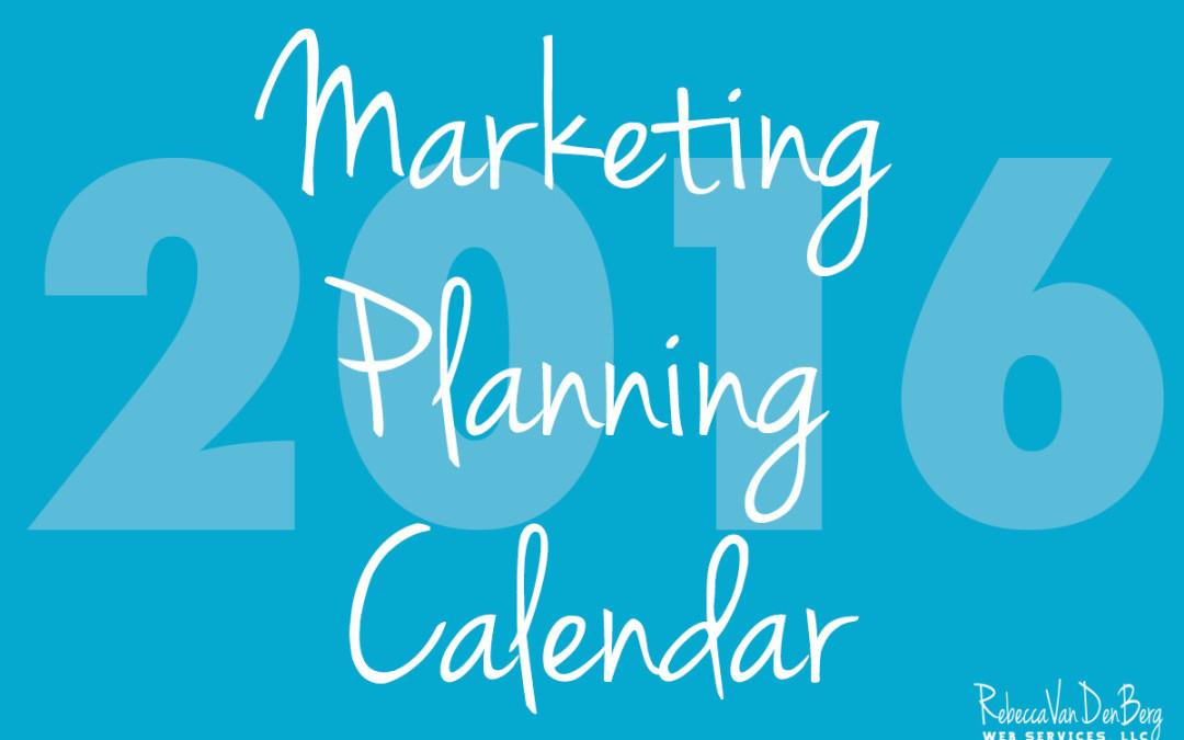2016 Marketing Planning Calendar