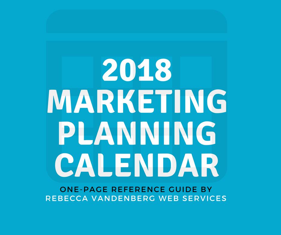 2018 marketing planning calendar